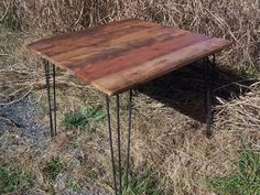 Breakfast Table with Reclaimed Wood Plank Top and Industrial Style Mid Century Modern Hairpin Legs