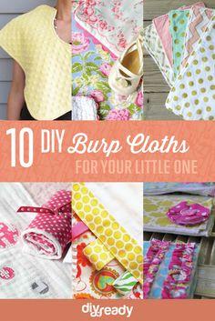 10 DIY Burp Cloths | How To Make Cute Burp Cloths Or Rags For Babies by DIY Ready at http://diyready.com/diy-burp-cloths/