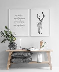 Stylish poster with deer.