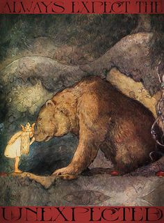 """Created a poster using the illustration """"She kissed the bear on the nose."""" By John Bauer from the story """"Bella's Glorious Adventure"""", written by Helena Nyblom and featured in the book """"Swedish Folk Tales""""."""