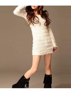 Long Sleeve White Sweater Dress