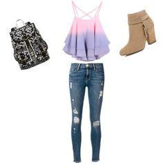 Back to School by penguins-lily on Polyvore featuring polyvore fashion style Frame Denim River Island SM New York