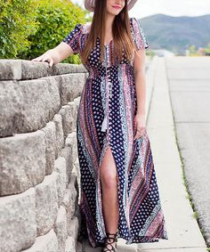 Look what I found on #zulily! Navy Geometric Front-Slit Maxi Dress #zulilyfinds