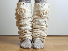 CROCHET PATTERN  - Seven League  Leg Warmers - snow white ruffled long creamy unique leggings flower tutorial PDF