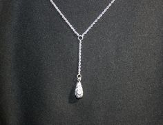Vintage Silver Rhinestone Tear Drop Pendant Necklace Costume Jewelry by KattsCurioCabinet on Etsy