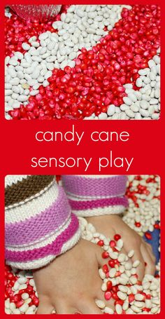 "A fun sensory activity for Christmas with a ""candy cane"" bin. Great for engaging the sense of smell with sweet peppermint!"