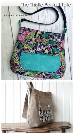 The Thistle Pocket Tote Cross Body Bag pdf downloadable sewing pattern.