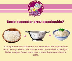 COMO AQUECER ARROZ AMANHECIDO? Veja essa e outras dicas em nosso blog: http://dicasdacasa.com/dicas-de-cozinha-da-sogra/