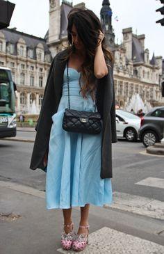 hm dress, miu miu shoes, chanel bag, zara coat, rayban glasses. 5/22/12
