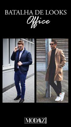 O look office para eles também pode  ser cheio de estilo! #modaazoficial #officelook #sobretudo #puffy #style #winter Photo And Video, Coat, Videos, Jackets, Instagram, Fashion, Topcoat, Battle, Style