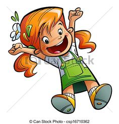 cute+little+red-headed+freckle-faced+girl+cartoon | Happy cute cartoon orange hair girl jumping happily spreading arms and ...