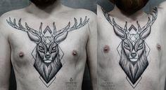 deer chest tattoo on Behance