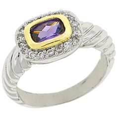 World Class Brilliance with Russian Formula Cubic Zirconia Stones Two-Tone yellow and white gold overlay Amethyst RN4496