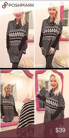 Adorable side split tribal sweater tunic! Color block and contrasting boho pattern design- rounded hemline with side split front kangaroo pouch- love this piece! Sweaters Cowl & Turtlenecks
