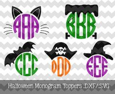 Items similar to Halloween Monogram Toppers .EPS Files for use with your Silhouette Studio Software (witch, frankenstein, cat, bat, pirate) on Etsy Halloween Vinyl, Silhouette Cameo Projects, Silhouette Design, Silhouette Studio, Vinyl Monogram, Monogram Design, Vinyl Crafts, Vinyl Projects, Shilouette Cameo