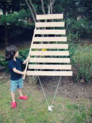 Outdoor xylophone.  Kids would love this as they constantly play with the one at Daddy's work.