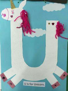 Letter r arts and crafts alphabet arts and crafts preschool letter u crafts ideas spring them . Preschool Letter Crafts, Alphabet Letter Crafts, Abc Crafts, Classroom Crafts, Alphabet Activities, Letter Art, Preschool Activities, Unicorn Crafts, Unicorn Art