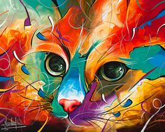 One of a kind Original Paintings and Prints for Sale. Cat, feline, fish and…