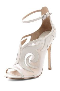 white ankle strap wedding stilettos ~  we ❤ this! moncheribridals.com