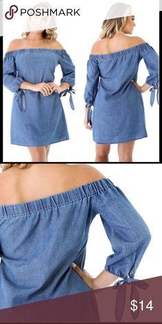 b48da82081f Off Shoulder Denim Chambray Dress Lighter jean color than modeled. Size  Small. Worn once