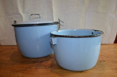 Fabulous BLUE ENAMELWARE Double BOILER. Excellent Offering. Great Shade of Blue. Boiler with Lid and Handle and Extra Pot Inside Matches Set by GottaBuyVintage on Etsy (null)