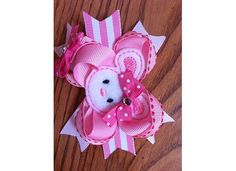 Cute Pink Bunny Easter Hair Bow by maerbearsbows on Etsy, $9.99