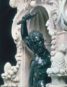 "Cellini, Benvenuto 1500–1571. Pedestal of ""Perseus"" with aedicula fig. ""Jupiter"", 1552. Section. Marble (pedes.) and bronze (fig.), height of figure 98 cm. From the Loggia dei Lanzi in Florence. substituted for a copy there."