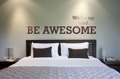 Wall Decal Words Wake Up Be Awesome Words Lettering Inspiration Quote Phrase #WallStarGraphics #Modern