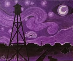 "niehausromanoff: "" ""Starry Night Vale"" Acrylic on canvas """