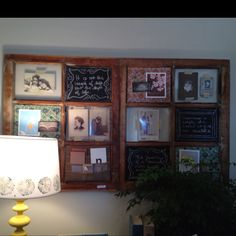 Another clever idea from the Bachmans Spring Idea House... It's an old window...each pane is a little different...some with cork, some with chalkboard paint, some clear panes with photo mounting corners.
