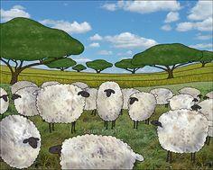 greener pasture - signed digital illustration art print 8X10 inches - sheep sky blue green landscape