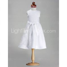 Lanting Bride ® A-line / Princess Knee-length Flower Girl Dress - Satin Sleeveless Jewel with Bow(s) / Lace - USD $59.99
