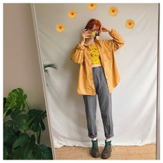 Retro Outfits, Vintage Outfits, Cool Outfits, Casual Outfits, Vintage Fashion, Fashion Outfits, Whimsical Fashion, Yellow Shirts, Mode Vintage