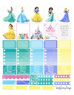 Printable Planner Stickers - Erin Condren - Disney Princess - Weekly Kit by SimplyStacyDesign on Etsy