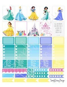 Printable Planner Stickers - Erin Condren - Disney Princess - Weekly Kit by SimplyStacyDesign on Etsy