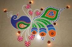 25 Luminous Diwali Rangoli Designs with Lamps and Colours Rangoli Colours, Colorful Rangoli Designs, Rangoli Designs Diwali, Diwali Rangoli, Beautiful Rangoli Designs, Kolam Designs, Diwali 2018, Festivals, Latest Rangoli