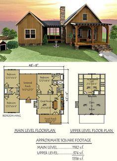 Our popular Camp Creek Dog Trot design #houseplans #cabins #floorplans