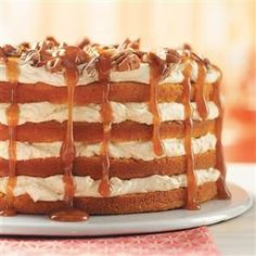 Pumpkin Torte Recipe -This layered cake has a creamy filling with a mild pumpkin flavor and a little spice. It's quick and always turns out so well. The nuts and caramel topping add a nice finishing touch,Trixie Fisher, Piqua, Ohio Köstliche Desserts, Delicious Desserts, Yummy Food, Pumpkin Recipes, Cake Recipes, Dessert Recipes, Drink Recipes, Dessert Bars, Baking Recipes