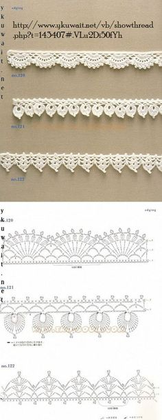 "diy_crafts-Crochet Lace Edging More by coleen ""Crochet Patterns Lace Crochet Lace Edging More Mehr"", ""like about 3 inches wider"", ""Handkerc Crochet Boarders, Crochet Edging Patterns, Crochet Lace Edging, Crochet Diagram, Crochet Chart, Crochet Designs, Crochet Doilies, Crochet Flowers, Knitting Patterns"
