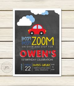 Transportation Birthday Invitation // Red Car by papernoteandco