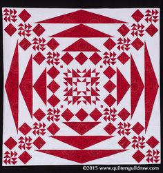 The Red & White Quilt by Colour City Quilters.  Judges Commendation.  2015 Quilters' Guild NSW show (Sydney, Australia)