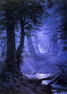 By Moonlight In Neldoreth Forest by Ted Nasmith (book: the complete guide to middle-earth)