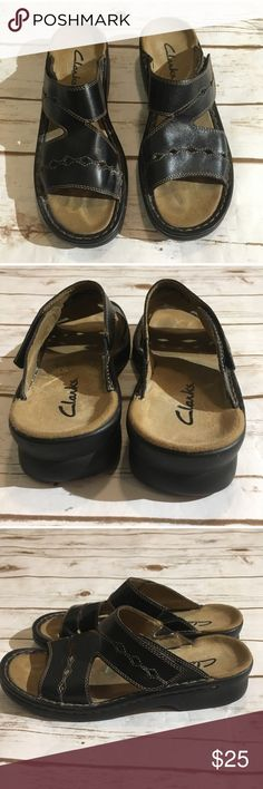 Clarks leather sandals Velcro on side 💋Super stylish and comfy. From non-smoking, non-pet home.   💋Add to bundle to save on shipping costs! Don't forget to add any two or more items in my closet and receive an extra 10% off! no trades.  💋About me: Please buy with confidence. I work to make sure my clients are happy! I buy similar styles, trends,brands and sizes, please follow me to see new styles added every day. Clarks Shoes Sandals