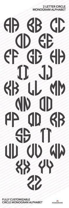 CÍRCULO MONOGRAMA VECTOR alfabeto: alfabeto del monograma 2 carta círculo. Incluye los siguientes formatos de archivo: .studio3, .studio, .svg, .dxf, .eps y. AI. Con este alfabeto de monograma del círculo puede crear fácilmente su monograma original para usarlo en forma digital o en