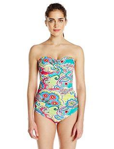 5787c44d2a4 Anne Cole Womens Decorative Paisley Twist Front Bandeau One Piece Swimsuit  Multi 8 >>>