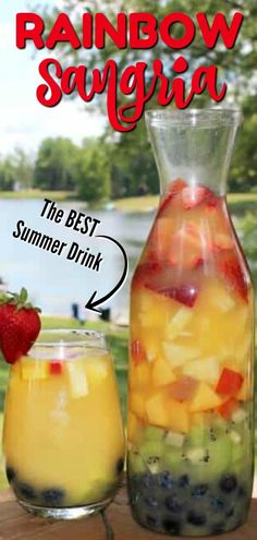 Rainbow Sangria - this easy white wine sangria recipe tastes even better than it looks. Perfect for a summer party, barbecue or holiday party! The fresh fruit, the sweetness paired with dry wine, and of course the colors makes this a hit! #drinks #drinkrecipe #easydrink #cocktail