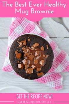 Craving chocolate cake but don't want to ruin your diet? This healthy snack recipe is the answer! The best ever healthy mug brownie has less than 100 calories and only takes 2 minutes to make. Yum! #HappyHealthyMotivated #Yum #Yummy #Healthy #HealthyFood #HealthyEating #HealthyRecipe #CleanEating #Chocolate #ChocolateRecipes #ChocolateCake