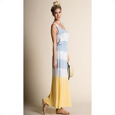 Promo discount Listing for @amandalowers Colorblock Tie Dye Maxi Dress                                What awesome tank maxi dress! These colors are perfect for summertime. This jersey dress features a bold striped tie dye design, a elastic waistband & all the comfort you need to wear it all day long!  95% Rayon 5% Spandex  Made in USA Dresses Maxi