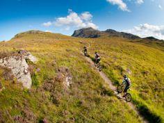 Coast-to-coast mtb tour Scotland: climbing towards Poolewe