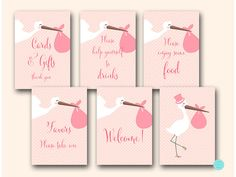 Pink Stork Baby Shower Decoration Printable by MagicalPrintable
